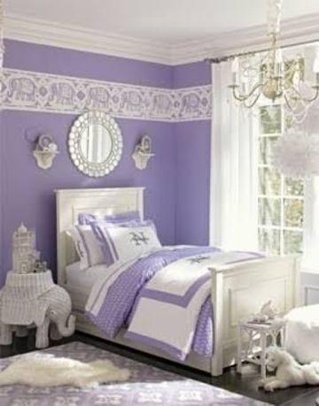 dormitorios de color lila y blanco de niña