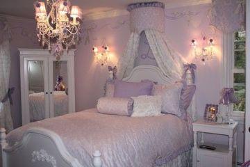 dormitorios de color lila y blanco de princesa