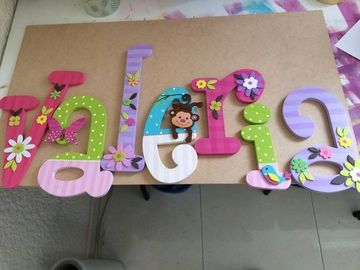 letras para puertas infantiles de madera pintada