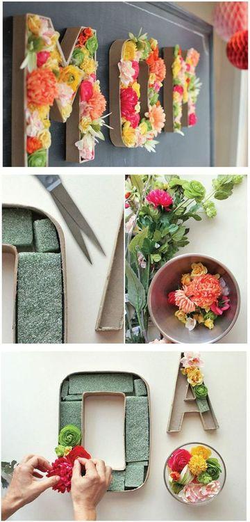 letras vintage para decorar con flores