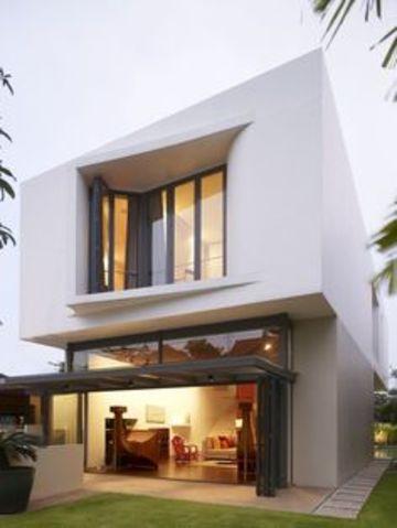 fachadas de casas con ventanales de dos plantas