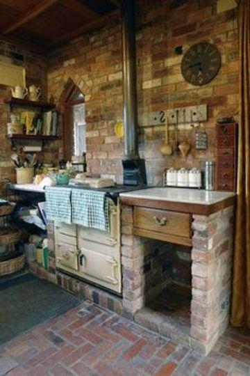cocinas en ladrillo rustico y madera