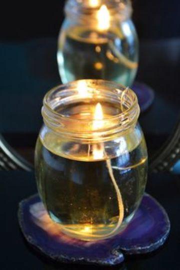como hacer una lampara de aceite con un frasco de vidrio
