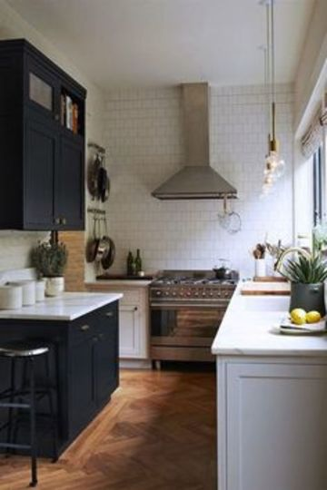 gabinetes para cocina pequeña dos colores