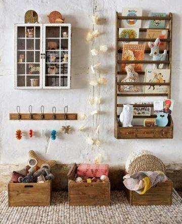 organizador de juguetes para niños estilo rustico