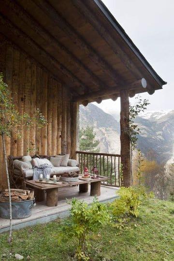 terrazas de madera rusticas de cabañas