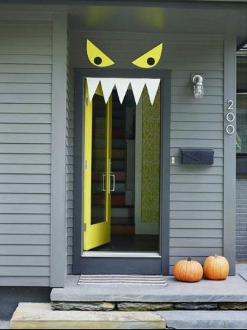 como adornar mi puerta para halloween facil