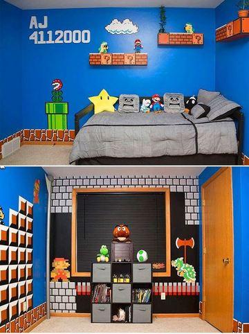 como decorar el cuarto de un niño de mario bros