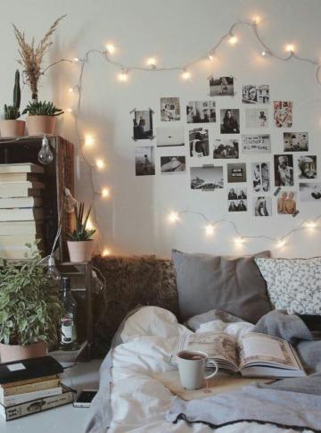 como decorar mi cuarto con fotos y luces