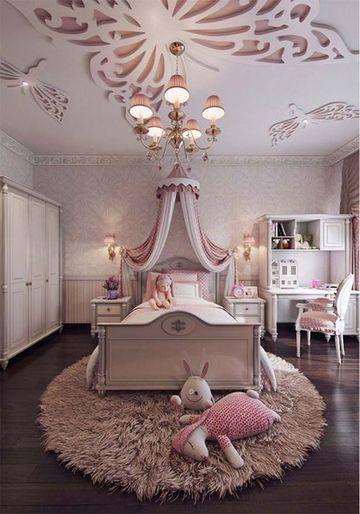 decoracion de dormitorios para niñas con techo de mariposa