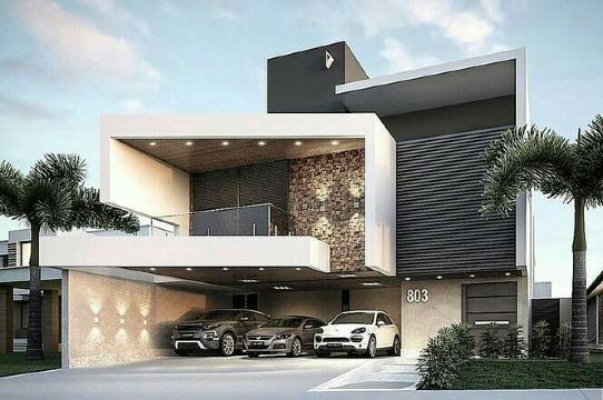 diseños de fachadas de casas con balcones modernos