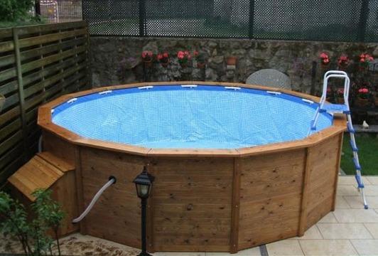 piscinas desmontables de acero imitacion madera