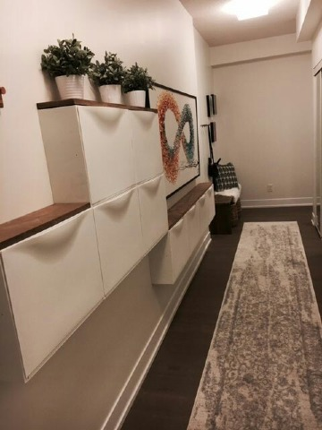 zapateros estrechos para pasillos de madera