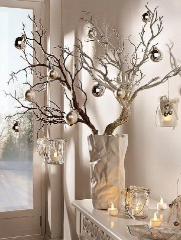 adornos con ramas secas para navidad