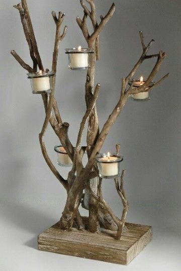 como hacer adornos con ramas secas