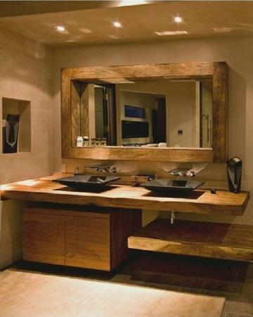 espejos de madera para baños modernos