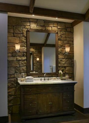 espejos de madera para baños rusticos