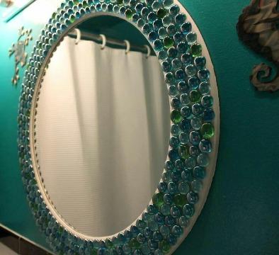 espejos decorados para baños manualidades