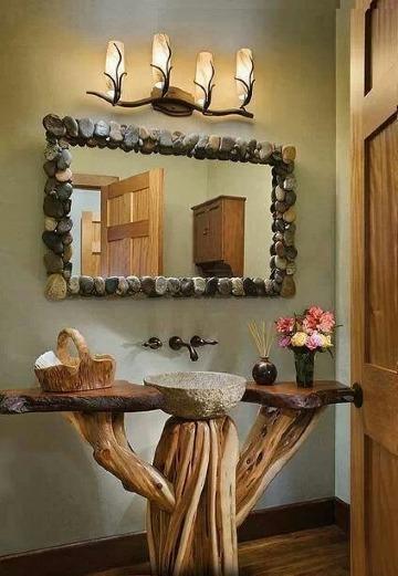 espejos decorados para baños rusticos