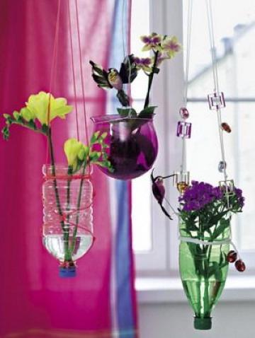 floreros con botellas de plastico faciles