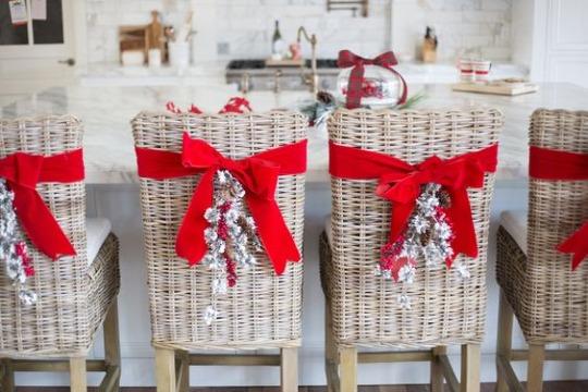 adornos para sillas de navidad rusticas