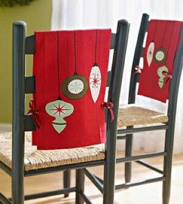 adornos para sillas de navidad sencillos
