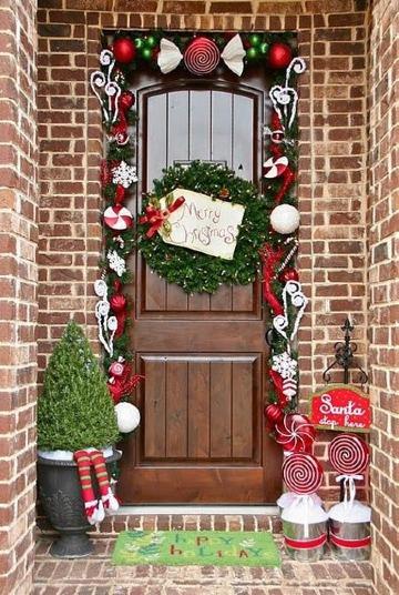 arreglos de navidad para puertas sencillos