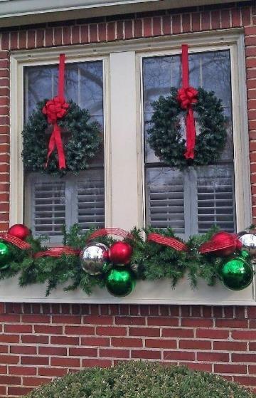 arreglos navideños para ventanas sencillos