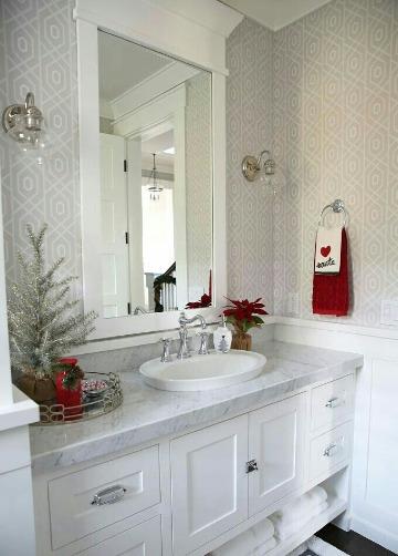 baños decorados de navidad elegantes