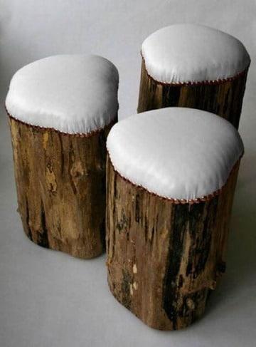 como hacer muebles con troncos de madera