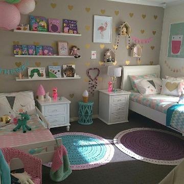 cuartos decorados para niñas hermanas