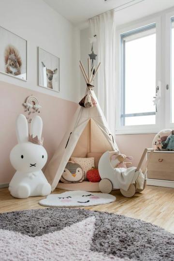 cuartos pintados de dos colores para niñas