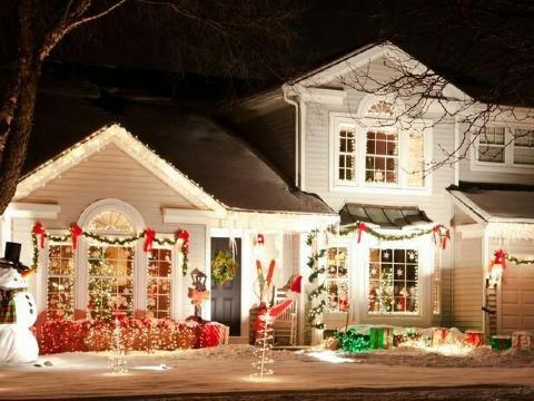 fachas de casas decoradas en navidad