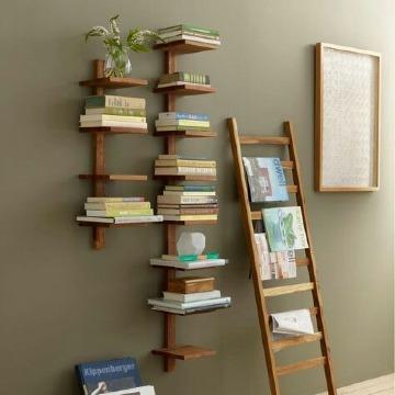modelos de estantes para libros de madera