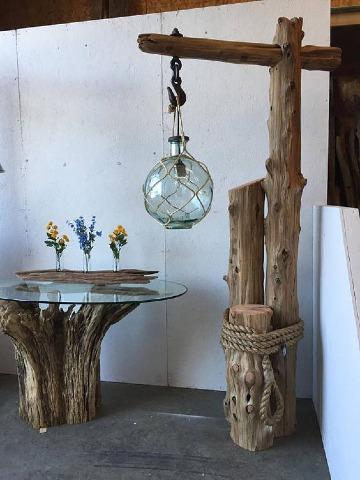 muebles con troncos de madera para decoracion