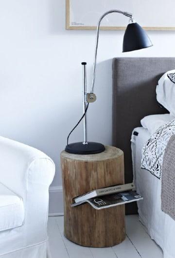 muebles con troncos de madera para habitacion