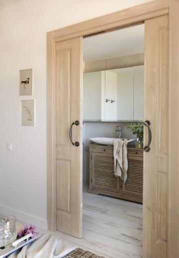 puertas de baño de madera corredizas