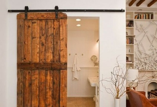 puertas de baño de madera rustica