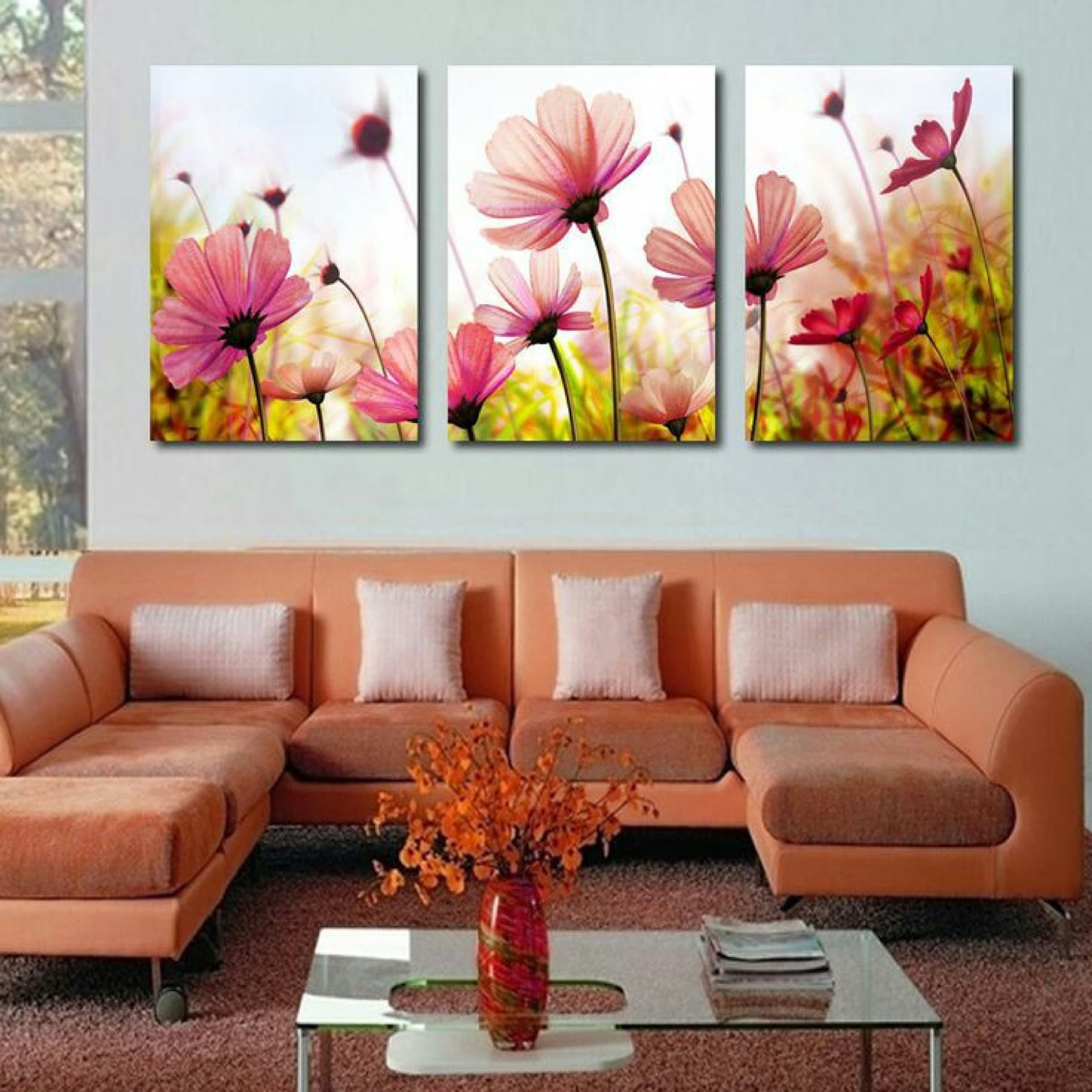 Diversas Imagenes De Cuadros De Flores Para 5 Cuartos Como