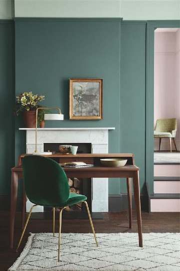 combinacion de colores verdes para interiores