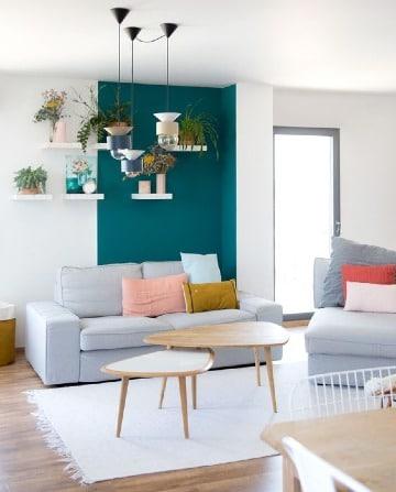 fotos de salas pintadas de dos colores