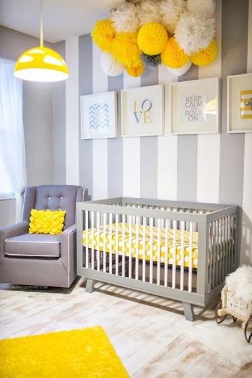 habitaciones color gris y blanco para bebes
