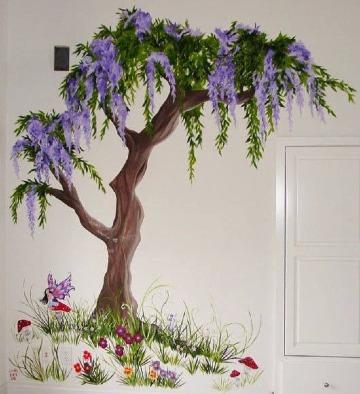 arboles pintados en la pared de cuartos