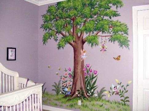 arboles pintados en la pared de haitacion