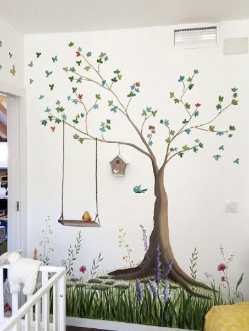 arboles pintados en la pared de niños