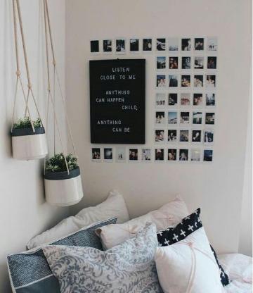 como decorar con fotos en la pared de la habitacion