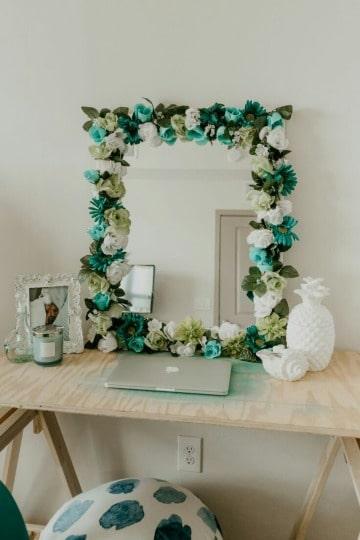 espejos decorados con flores diy