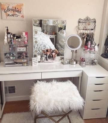 creativos muebles para maquillaje con espejo