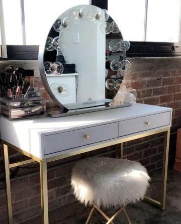 muebles para maquillaje con espejo redondo