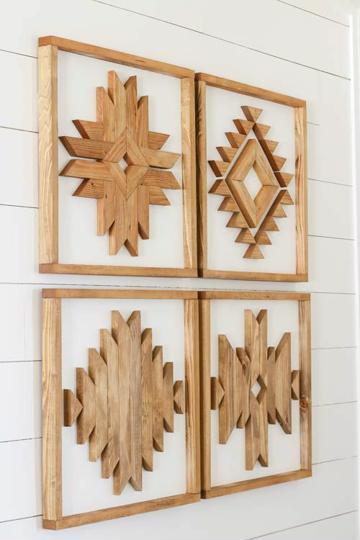 adornos de madera para pared figuras